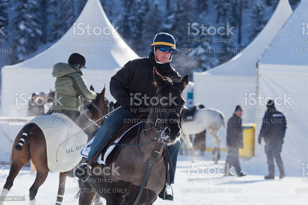 Snow Polo Warm Up royalty-free stock photo
