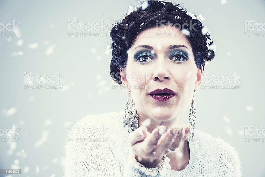 Snow princess goddess stock photo