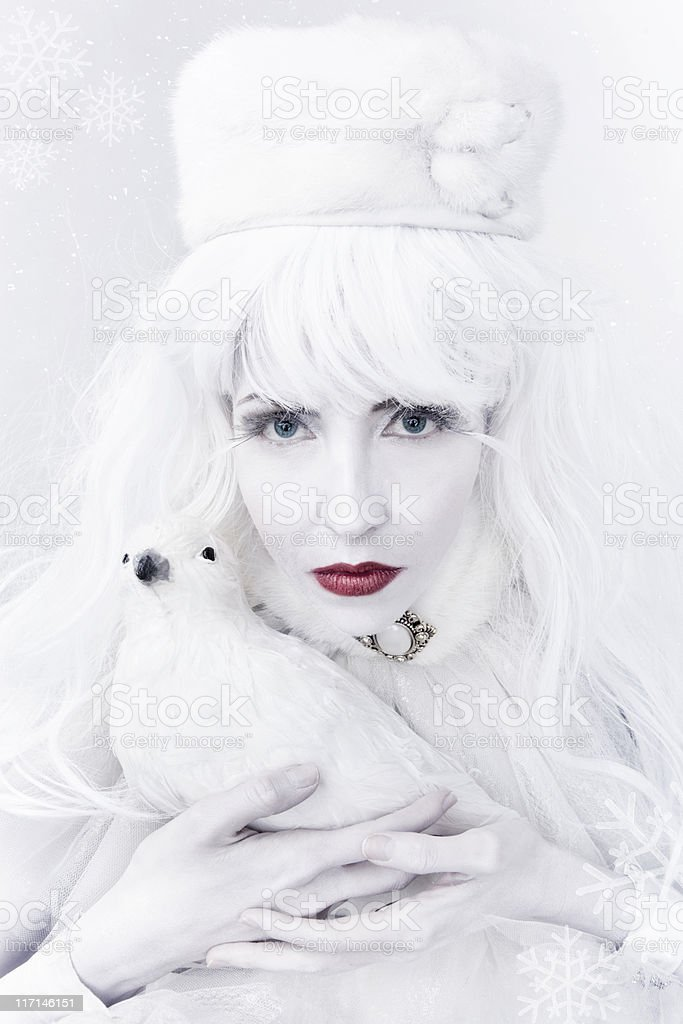 Snow Queen and White Dove royalty-free stock photo