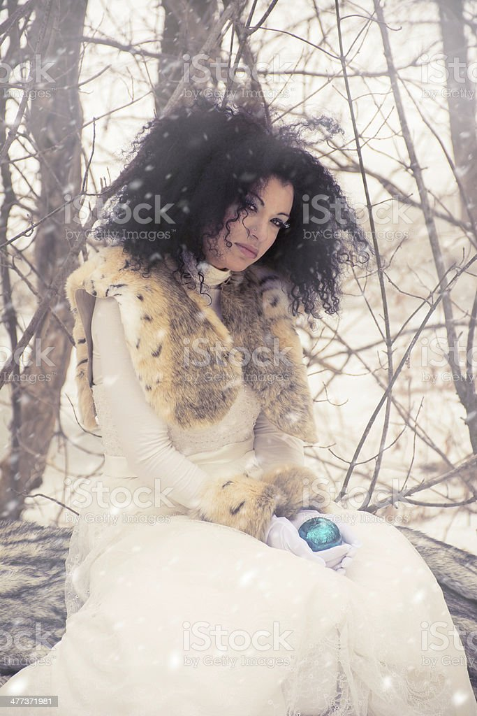 Snow Queen Fantasy Character Outdoors in Winter Sitting on Log stock photo