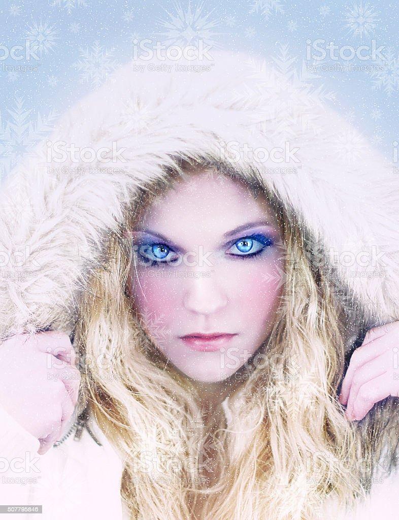 Snow Queen - Piercing Blue Eyes - Snowflakes stock photo
