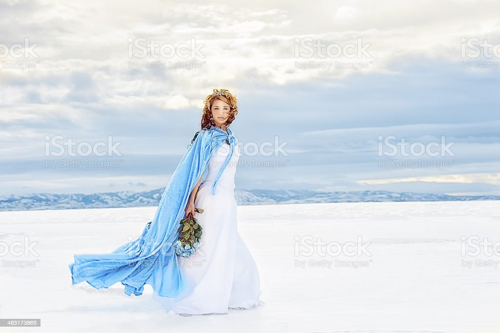 A snow queen walking on the lake stock photo