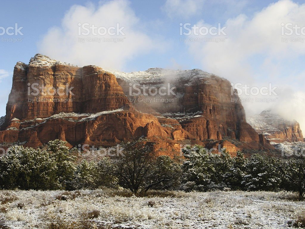 Snow Red Rock Butte royalty-free stock photo