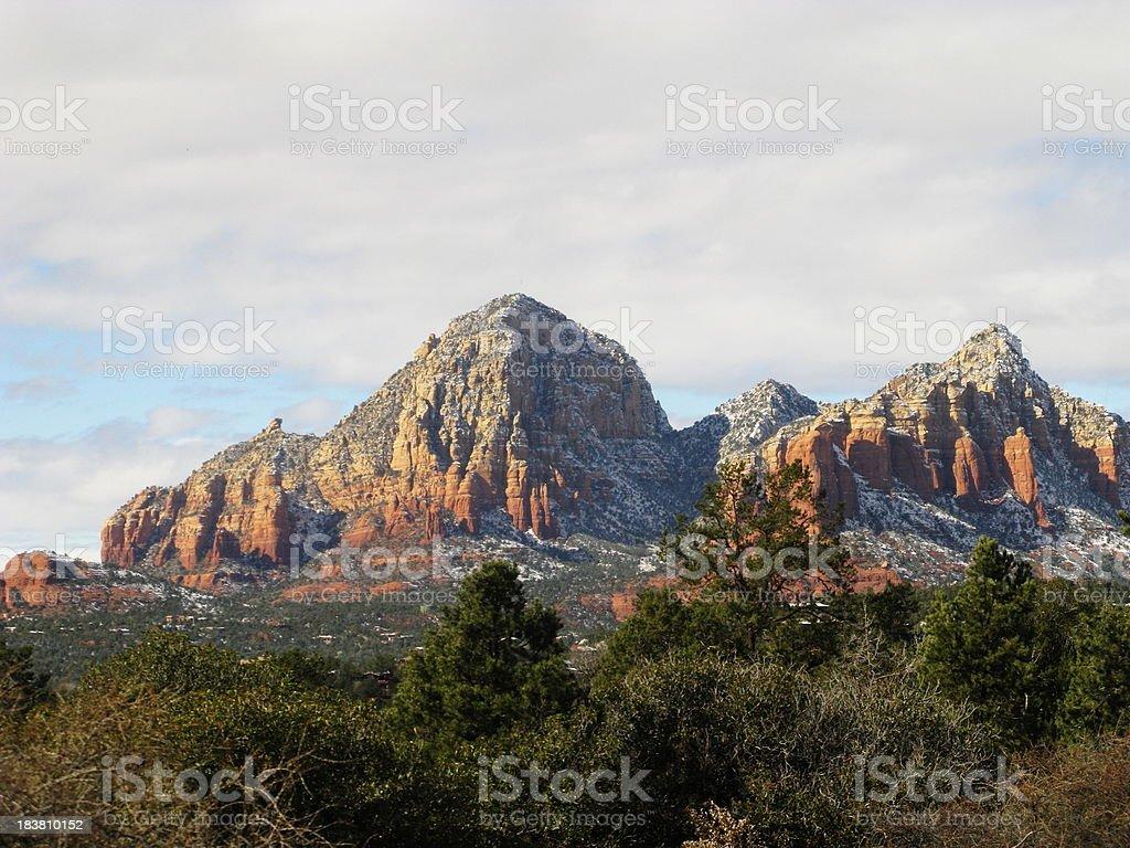 Snow Red Rock Winter Sedona Arizona royalty-free stock photo