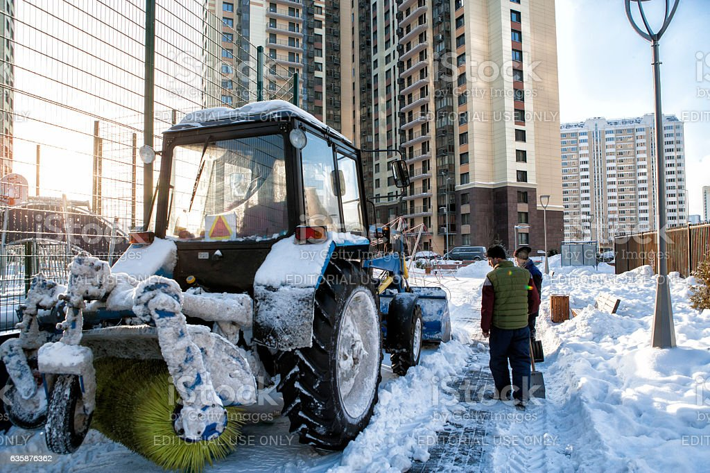 snow removal in Moscow stock photo
