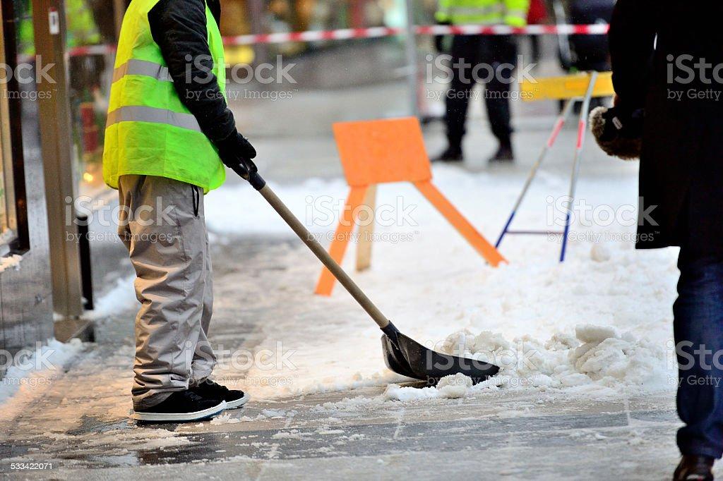 Snow removers stock photo