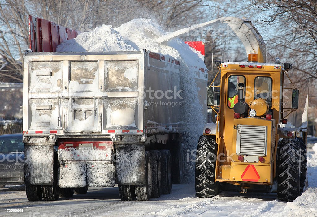Snow Removing Truck and Blower in the Street royalty-free stock photo