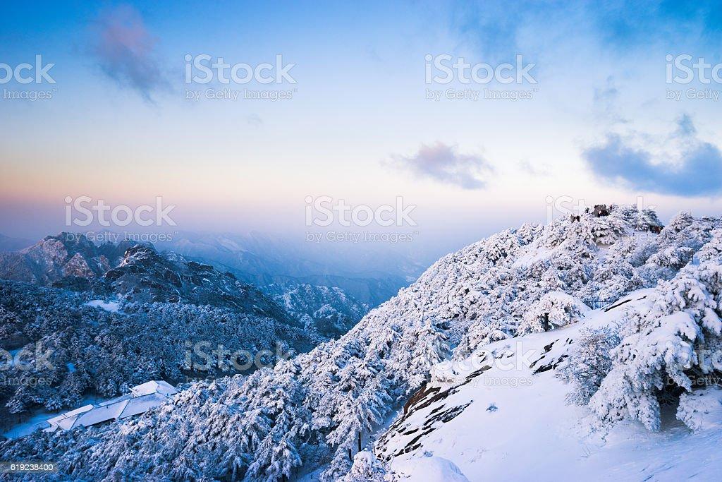 snow scene on huangshan mountain stock photo
