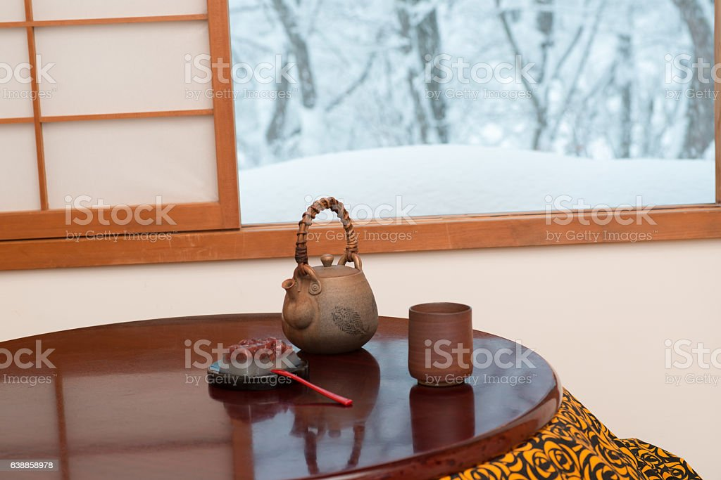 Snow scene stock photo