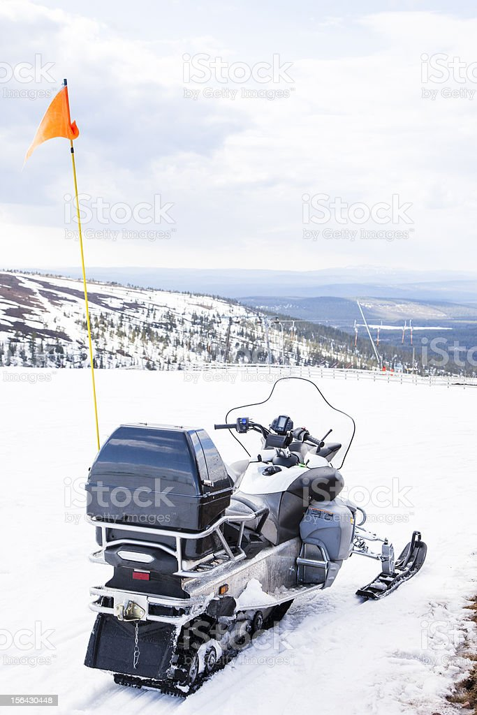 Snow Scooter in Swedish mountains stock photo