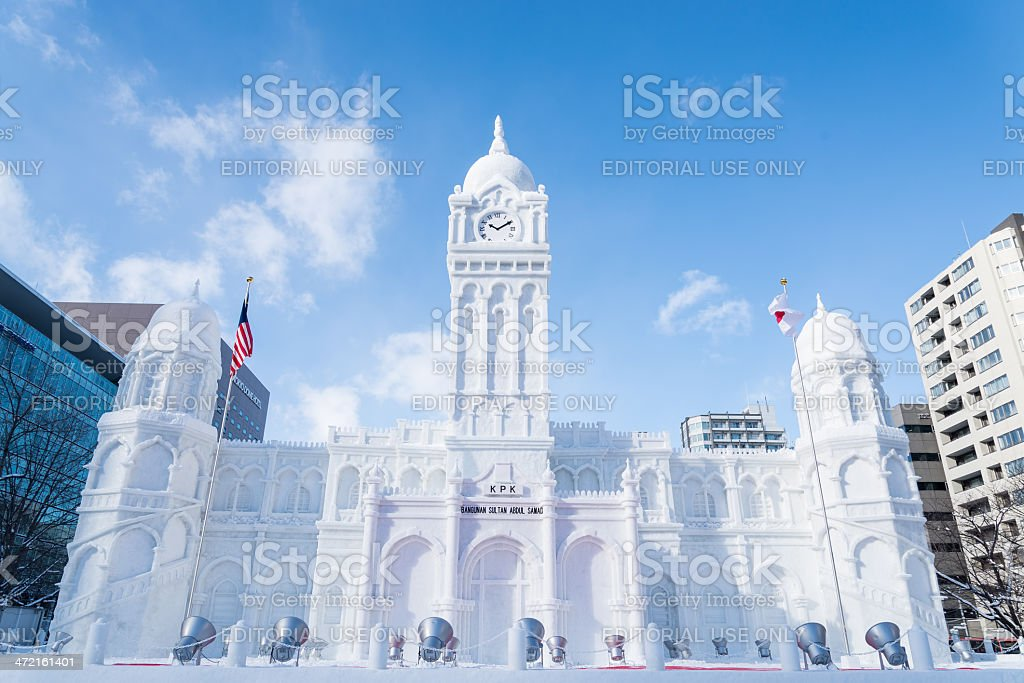 Snow sculpture of Sultan Abdul Samad Building stock photo