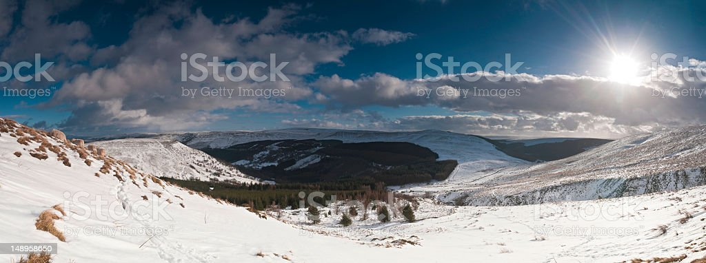 Snow sheep valley sunburst royalty-free stock photo