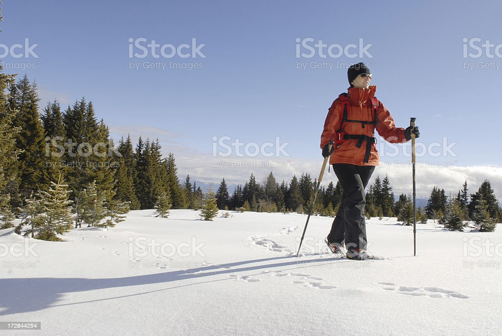 Snow Shoe Hiking royalty-free stock photo