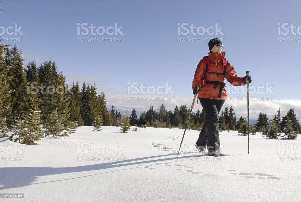 Snow Shoe Hiking stock photo