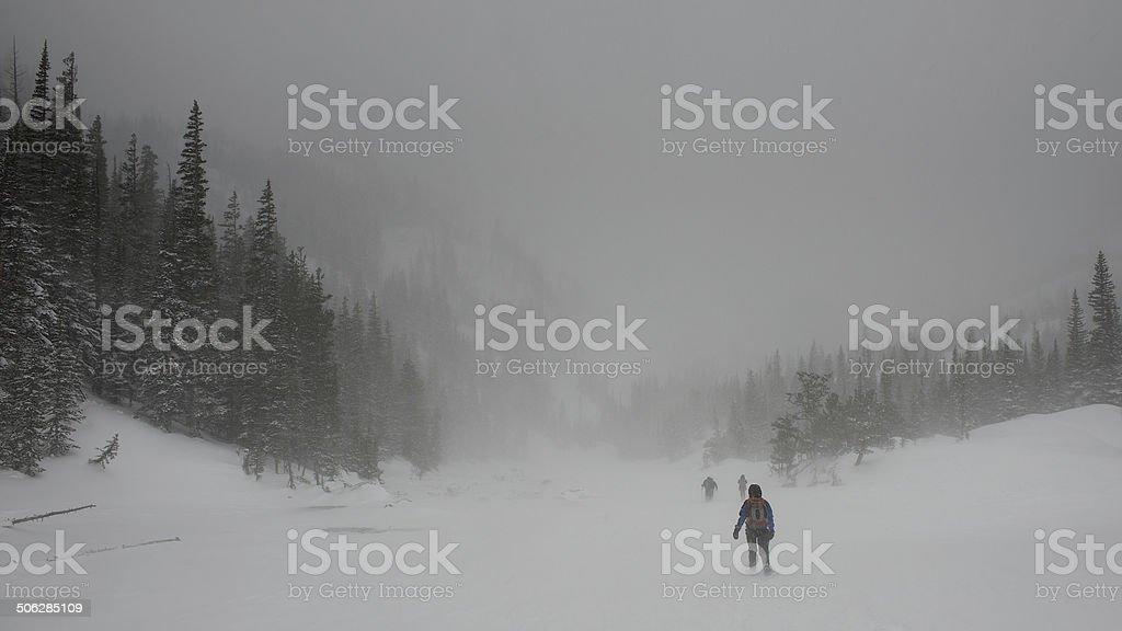 Snow Shoeing at Dream Lake stock photo