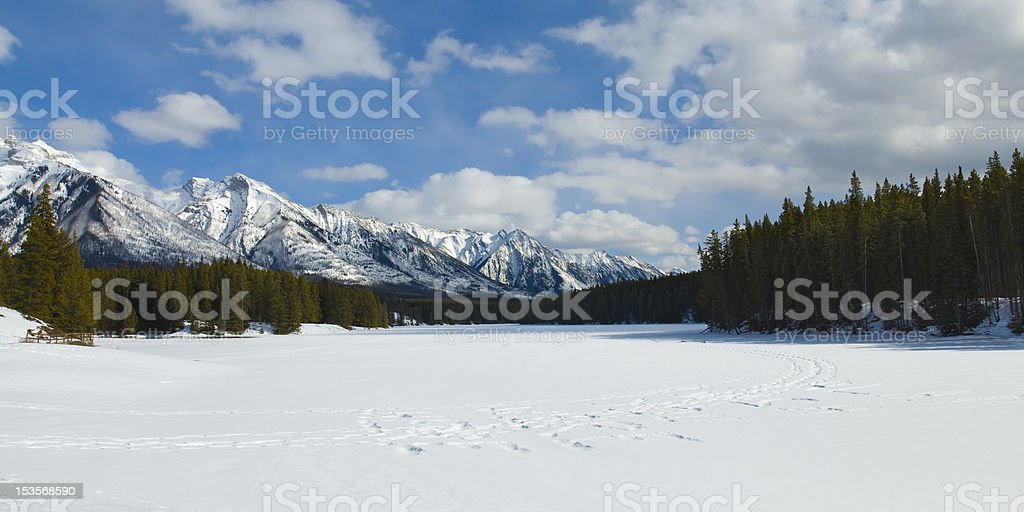 Snow Shoeing in Banff National Park stock photo