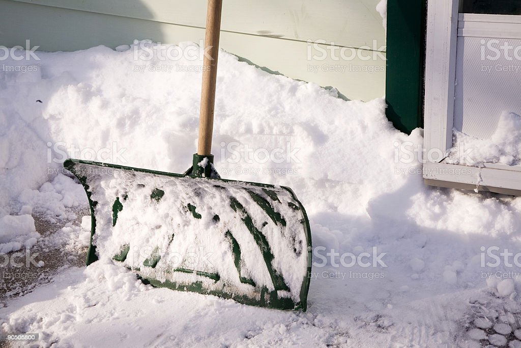 Snow Shovel Close-Up stock photo