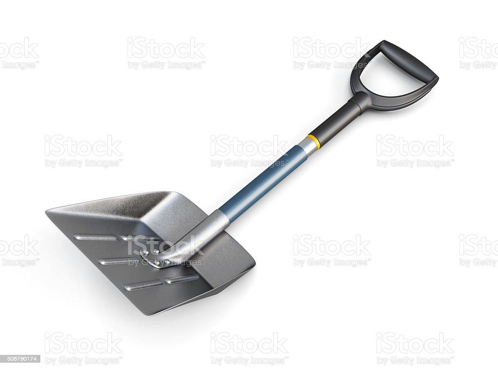 Snow shovel isolated on white background. 3d image. stock photo