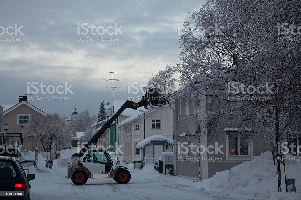 Snow shoveling royalty-free stock photo
