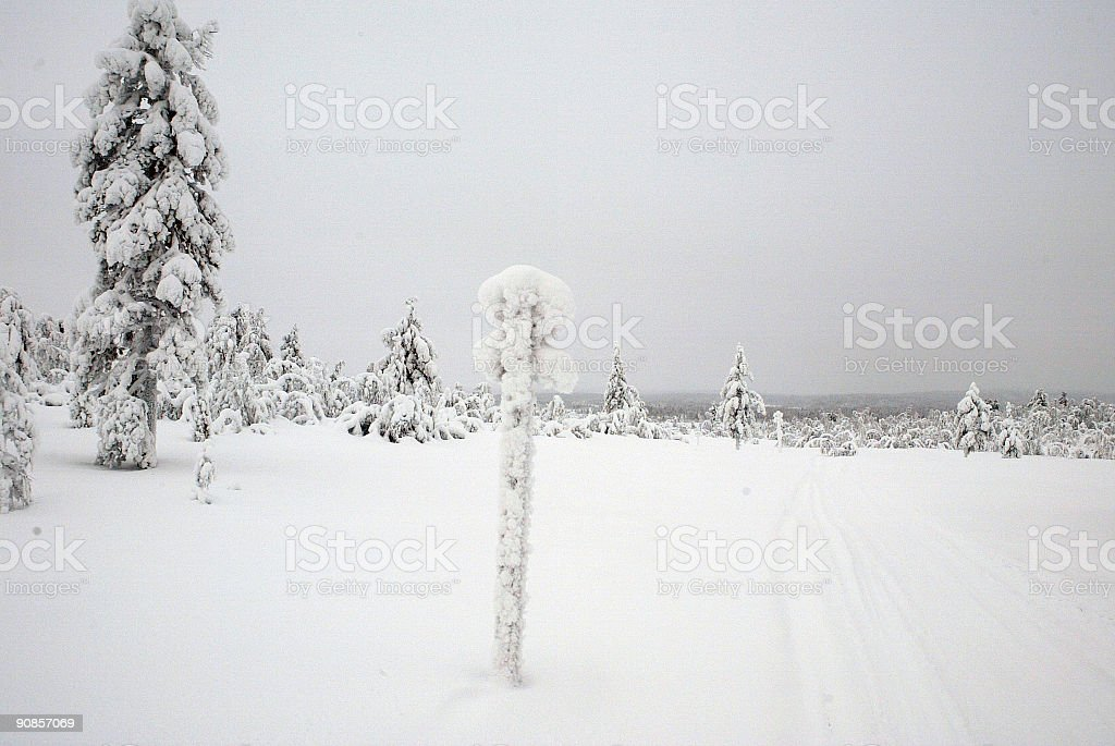 Snow Sign Expedition Finland Lapland royalty-free stock photo