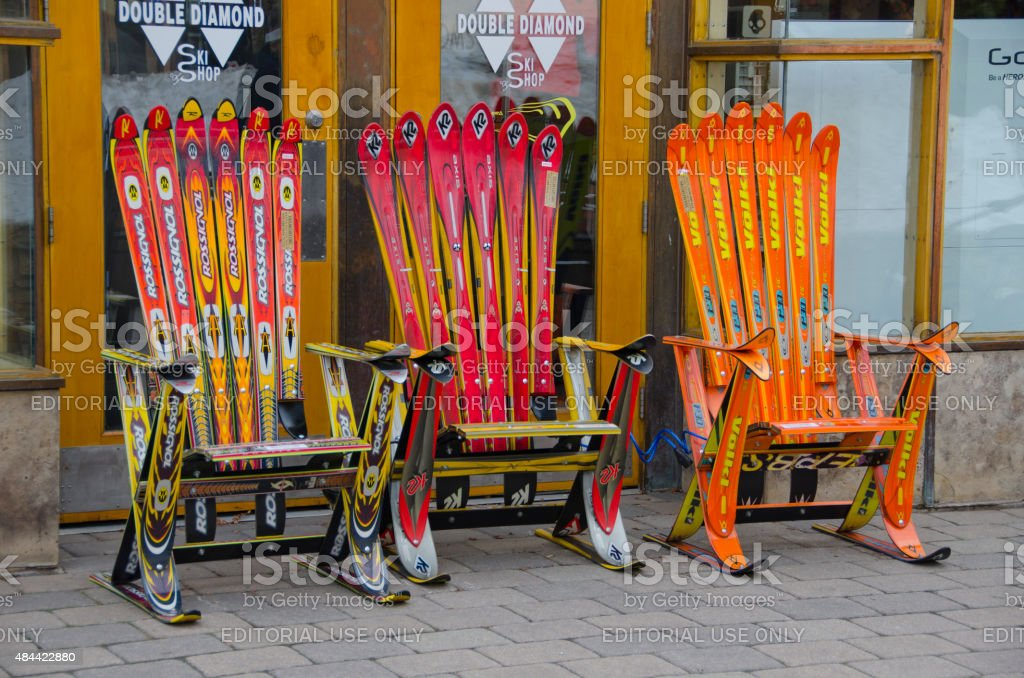 Snow Ski Chairs in Vail stock photo