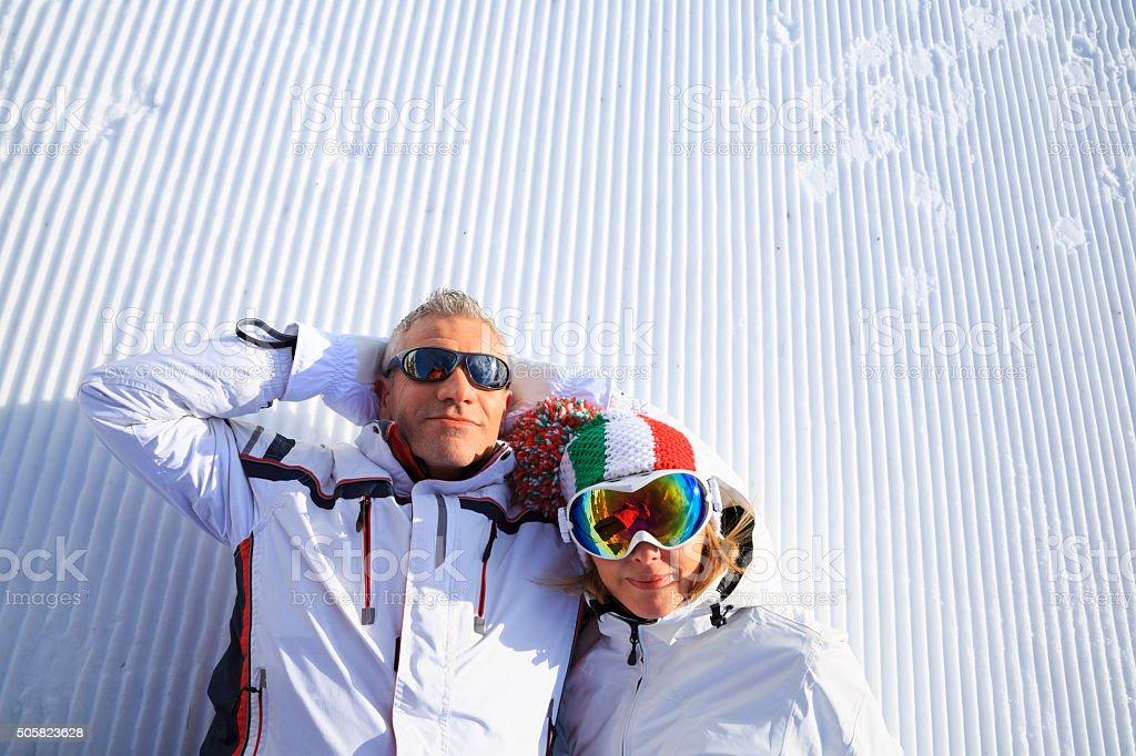 Snow Skier Couple stock photo