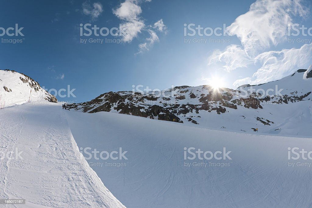 Snow skier - Half Pipe stock photo