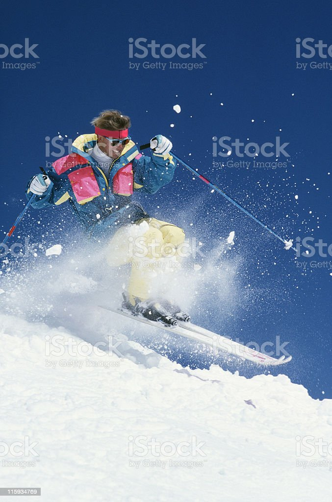 Snow Skier in Action stock photo