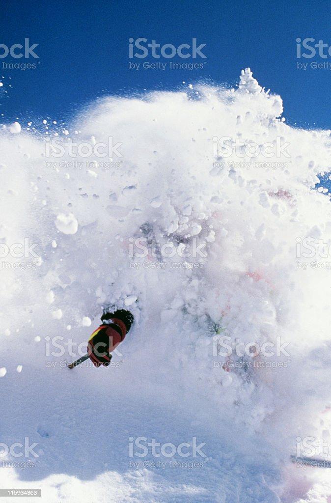 Snow Skier in Overhead Powder royalty-free stock photo