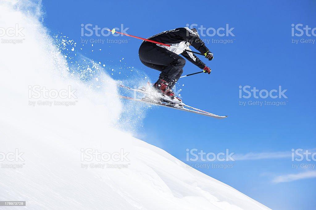 Snow skier jumping royalty-free stock photo