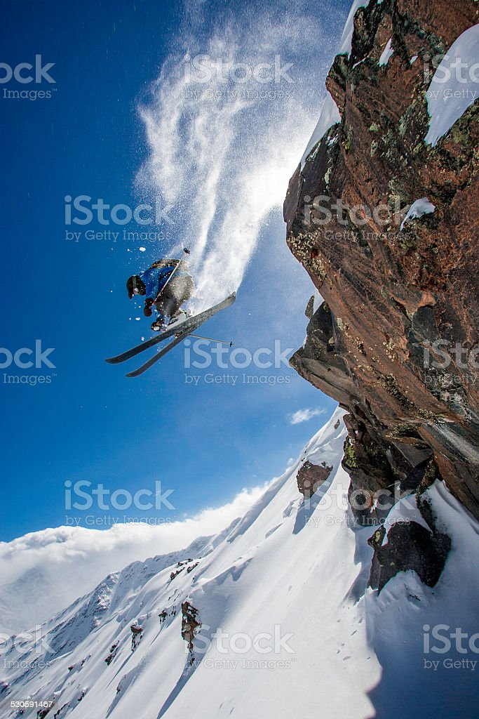 Snow Skier Jumping stock photo