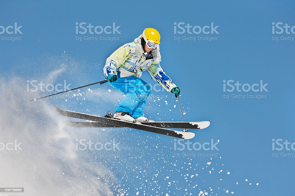 Snow Skier Making Extreme Jump royalty-free stock photo
