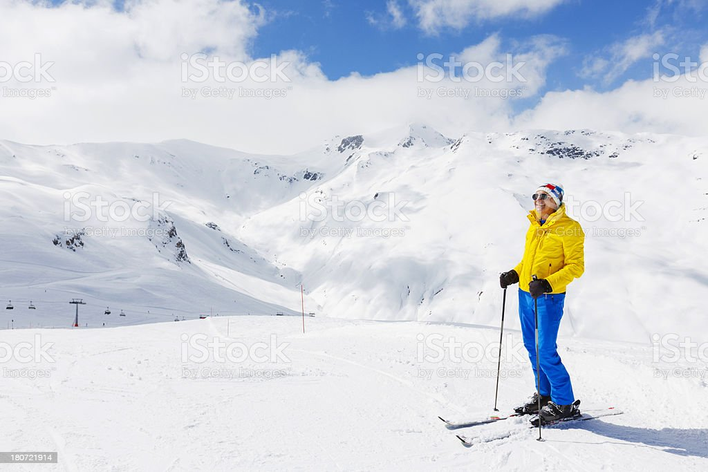 Snow skier  resting at the top royalty-free stock photo