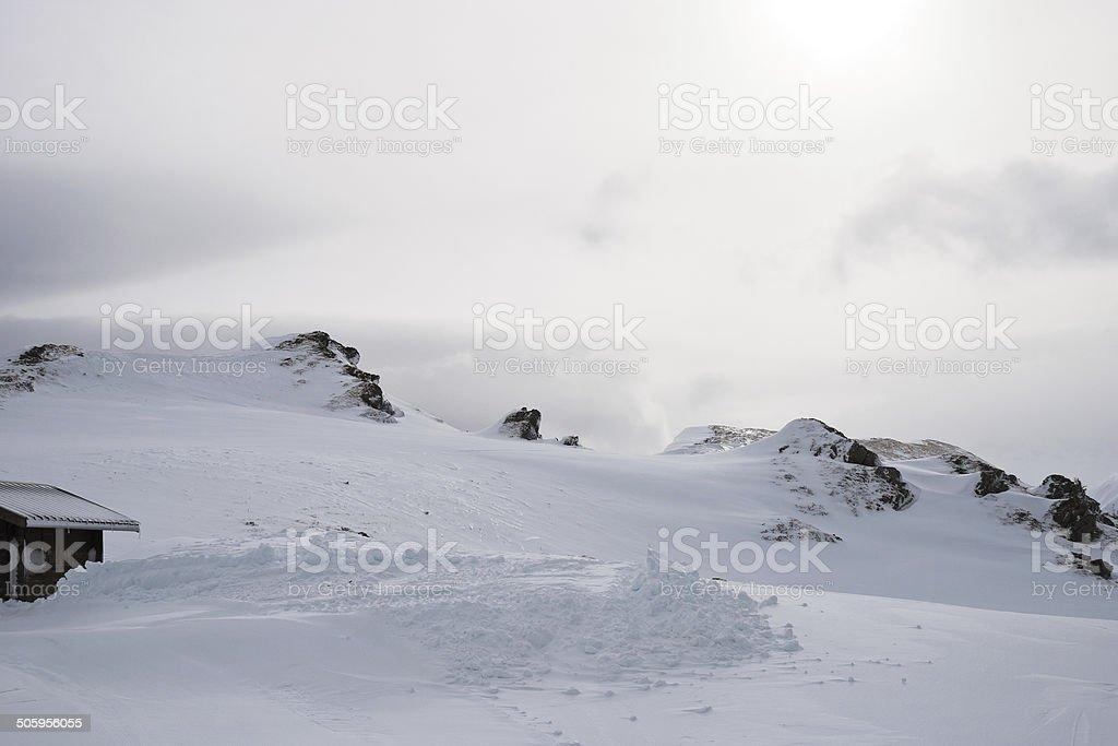 snow skiing tracks in Portes du Soleil region stock photo
