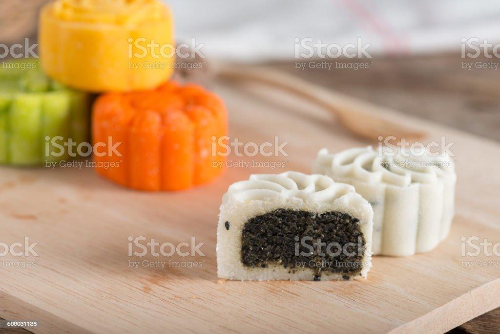 Snow skin mooncake stock photo