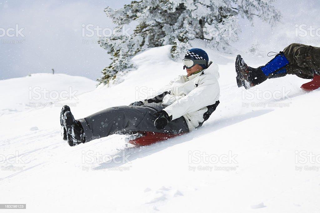 snow sledding royalty-free stock photo