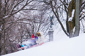 Snow sliding at the mount Royal in winter