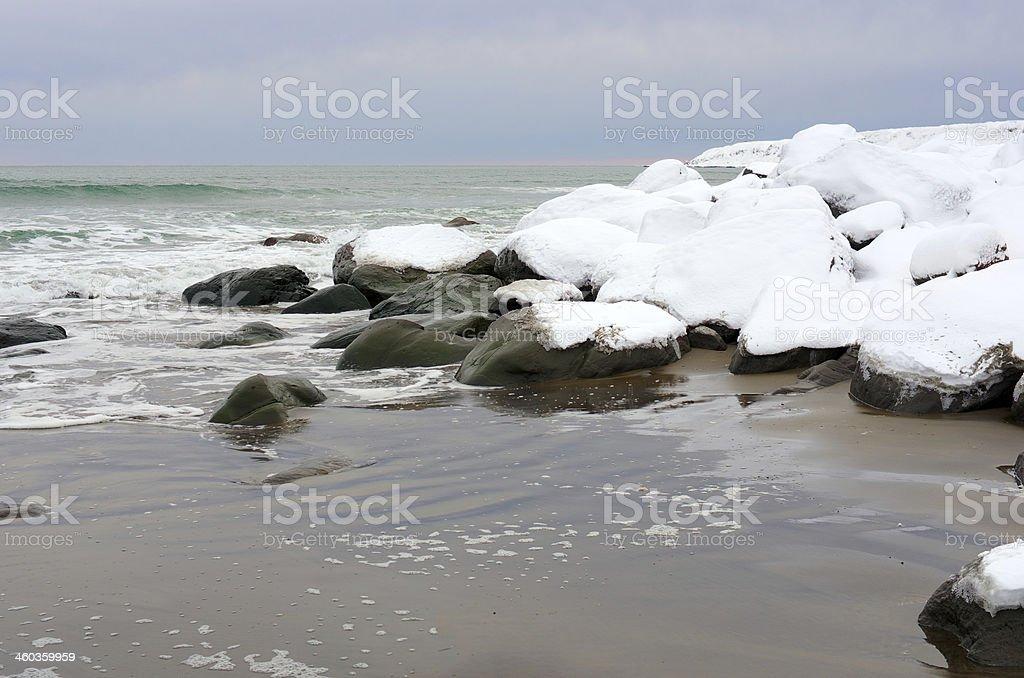 Snow stone ridge stock photo
