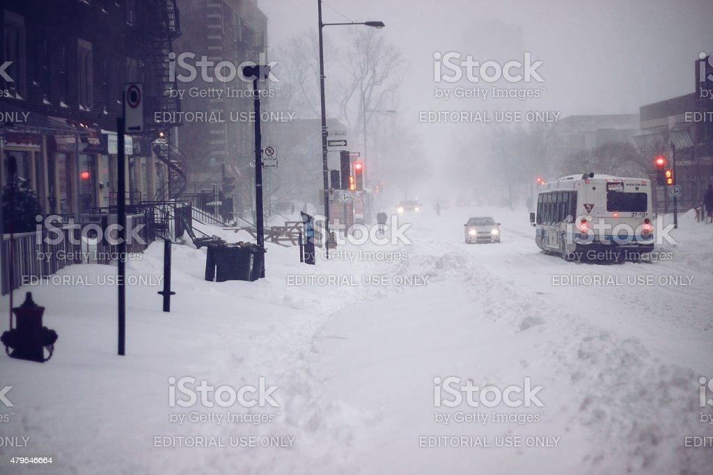 Snow storm in Montreal stock photo