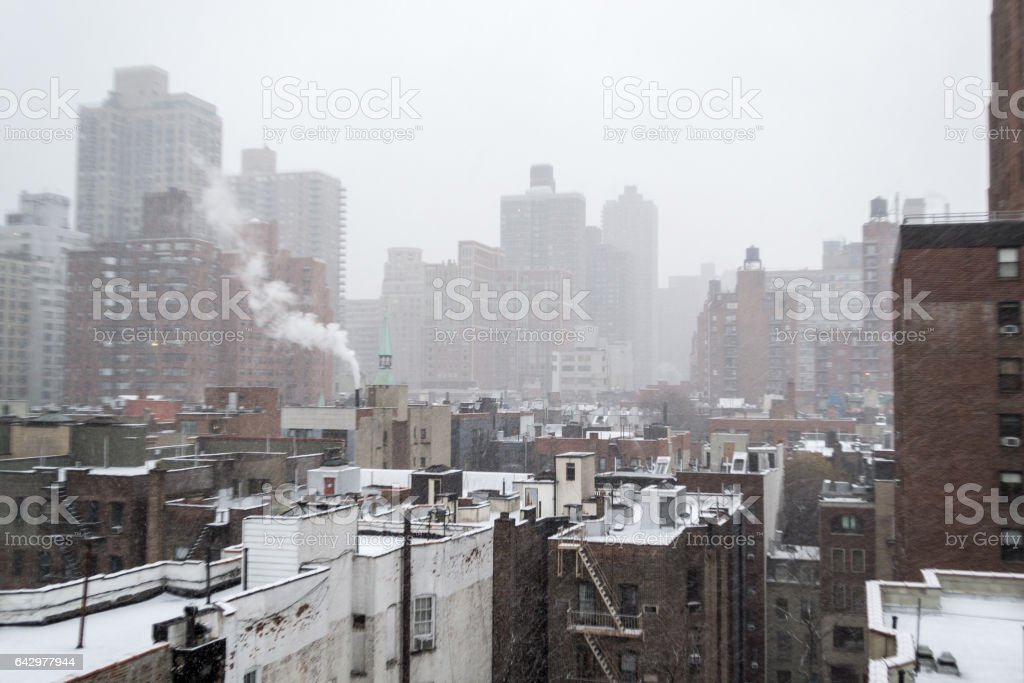 Snow storm observed from a rooftop in Manhattan Upper East Side (NY, USA) stock photo