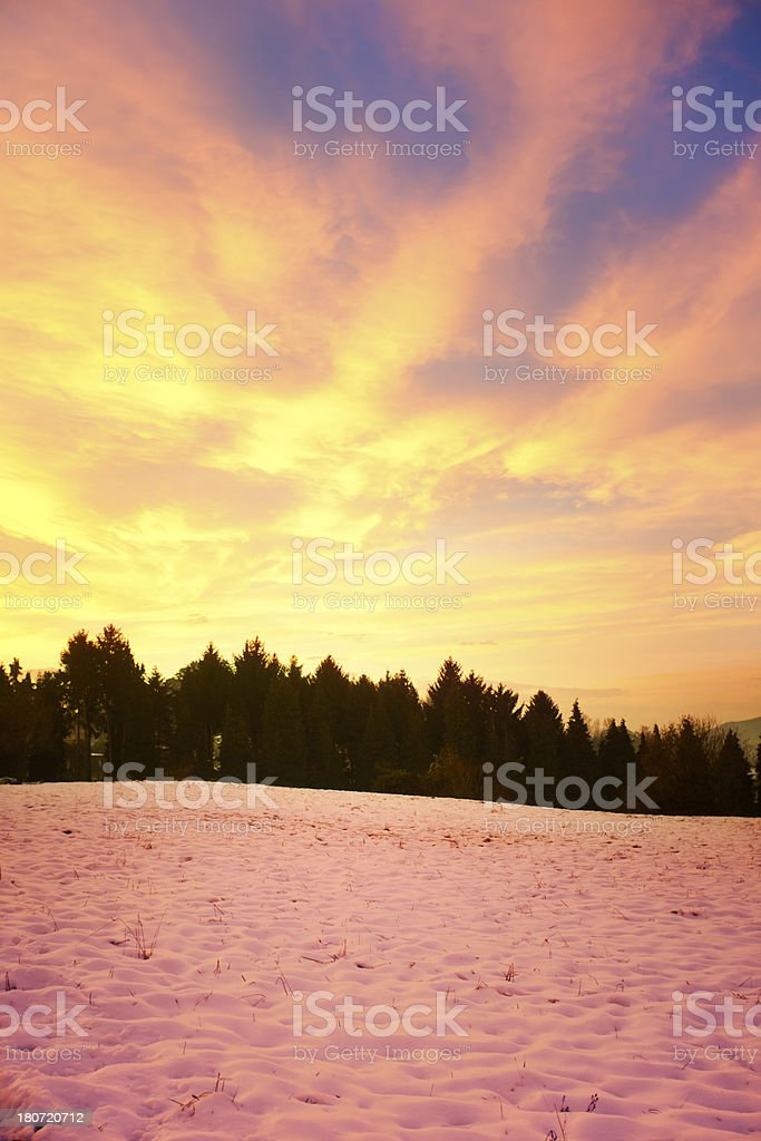 Snow sunset landscape royalty-free stock photo