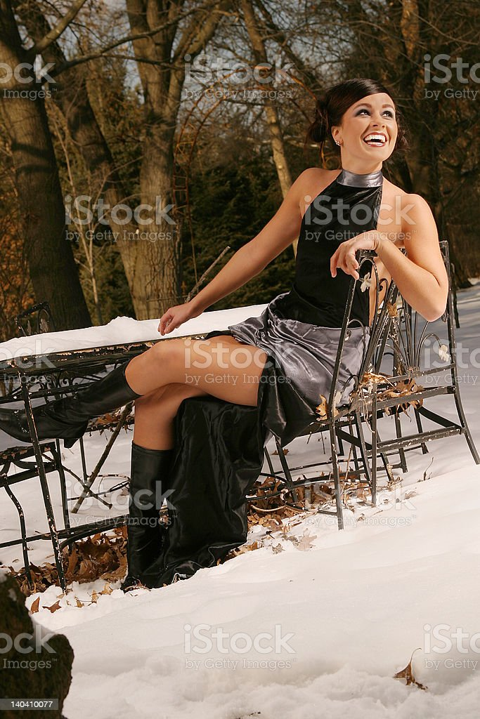 Snow Table Portrait royalty-free stock photo