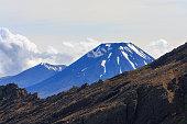 Snow top of Ngauruhoe volcano in Tongariro National Park