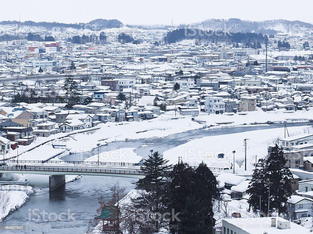 Snow town stock photo