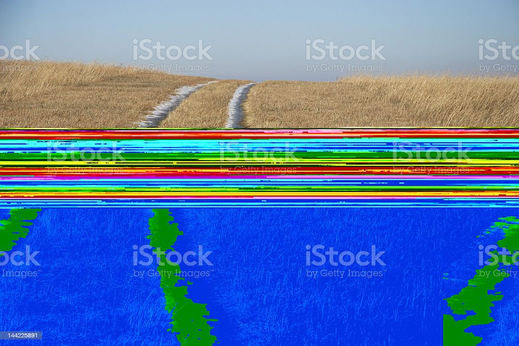 Snow Tracks in a Field royalty-free stock photo
