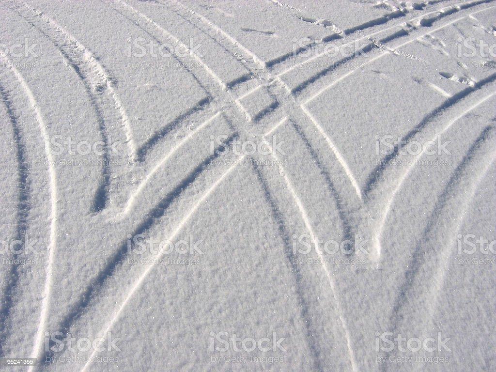snow tracks stock photo