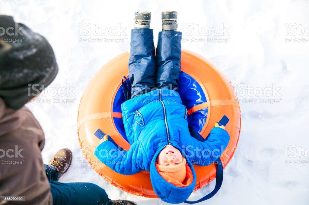 Snow tubes stock photo