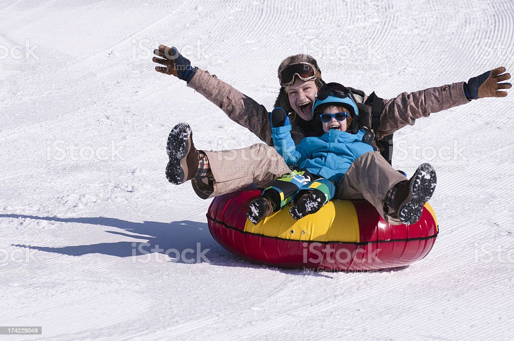 Snow tubing stock photo