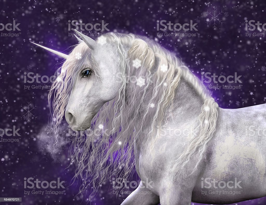 Snow Unicorn with Purple Background stock photo