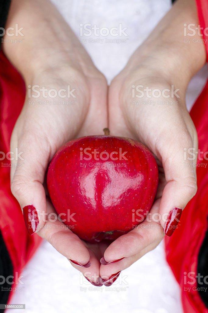 Snow White holding an apple stock photo
